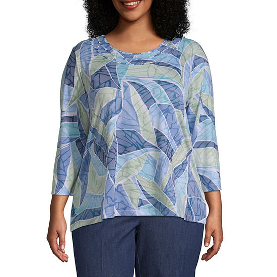 f5ca7fb9b8f Alfred Dunner Greenwich Hills Stained Glass Burnout Tee - Plus - JCPenney