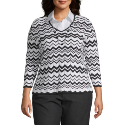 Alfred Dunner Grand Boulevard Chevron Layered Sweater - Plus