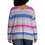 Boutique + Womens V Neck Long Sleeve Striped Pullover Sweater-Plus