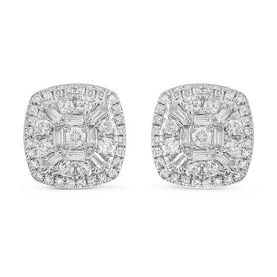 1/2 CT. T.W. Genuine White Diamond 10K White Gold 8.7mm Stud Earrings