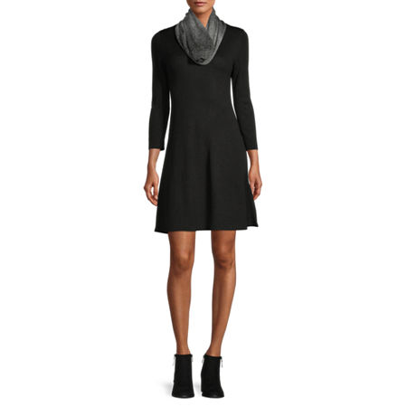 by&by-Juniors 3/4 Sleeve Sweater Dress, X-small , Black