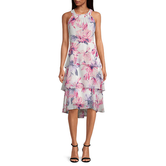 S. L. Fashions Sleeveless Floral High-Low Fit & Flare Dress