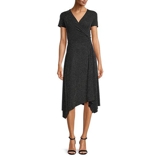 Scarlett Short Sleeve High-Low Fit & Flare Dress