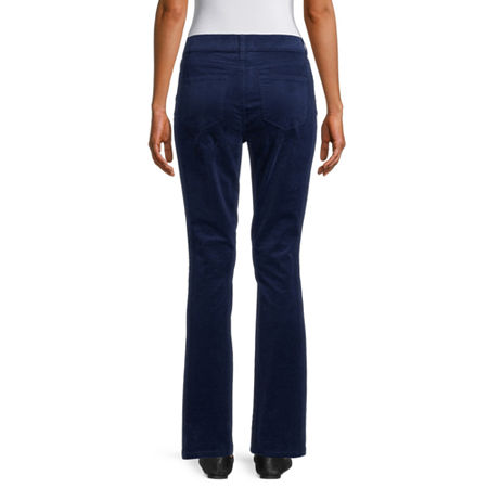 St. John's Bay Womens Mid Rise Belly Bootcut Corduroy Pant, 14 , Blue