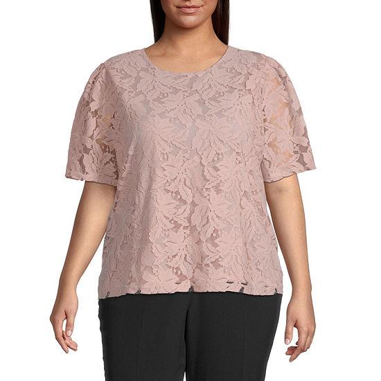 Liz Claiborne-Plus Womens Round Neck Short Sleeve Lace Blouse