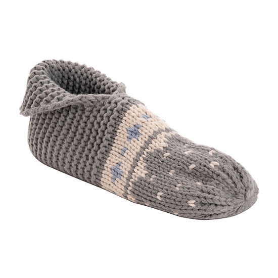Muk Luks Foldover Knit Womens Bootie Slippers