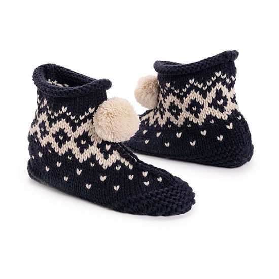 Muk Luks Knit Womens Bootie Slippers