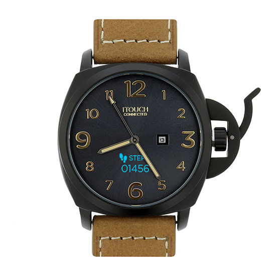 Itouch Connected Unisex Adult Brown Leather Smart Watch-50050u-51-G16