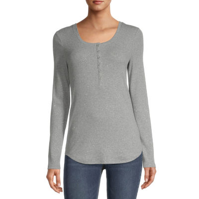 a.n.a Womens Henley Neck Long Sleeve Shirt