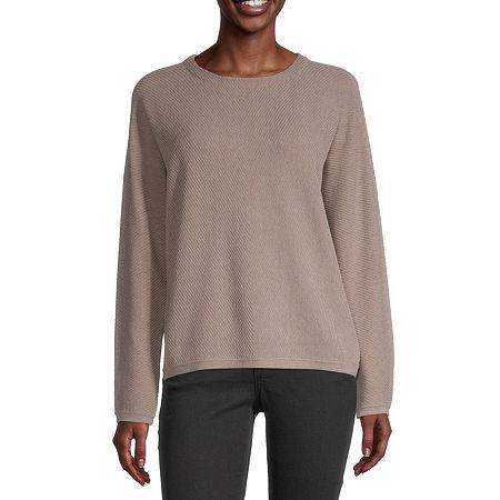 Liz Claiborne Womens Crew Neck Long Sleeve Pullover Sweater, Xx-large , Beige