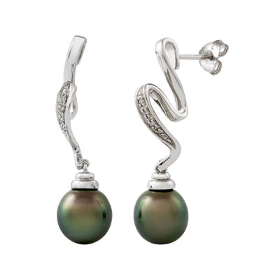 Genuine Tahitian Pearl and Diamond-Accent Squiggle Earrings