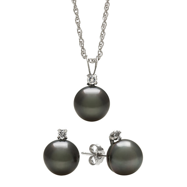 Genuine Tahitian Pearl and White Topaz Necklace & Earring Set