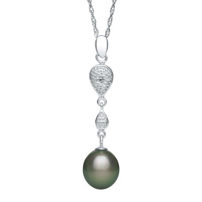 Genuine Tahitian Pearl and Diamond-Accent Linear Drop Pendant Necklace