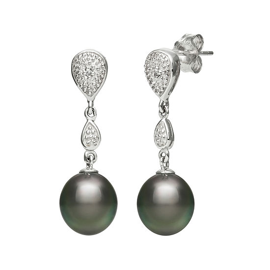 Genuine Tahitian Pearl And Diamond Accent Sterling Silver Linear Drop Earrings