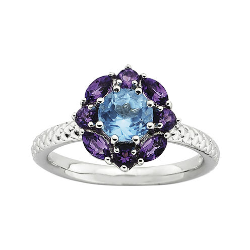 Personally Stackable Blue Topaz & Amethyst Ring