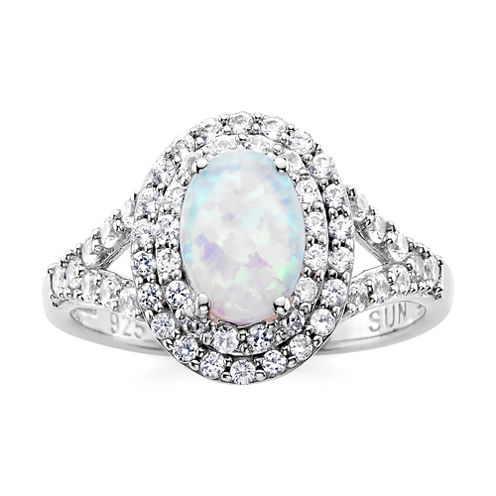 Lab-Created Opal & Lab-Created White Sapphire Double Halo Ring in Sterling Silver
