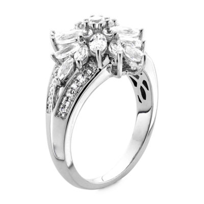 DiamonArt® Sterling Silver Cubic Zirconia Cluster Ring