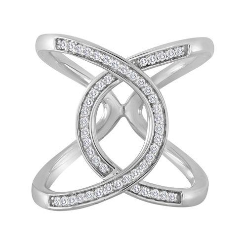 1/4 CT. T.W. Diamond Sterling Silver Loop Ring
