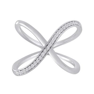 1/10 CT. T.W. Diamond Sterling Silver Loop Ring