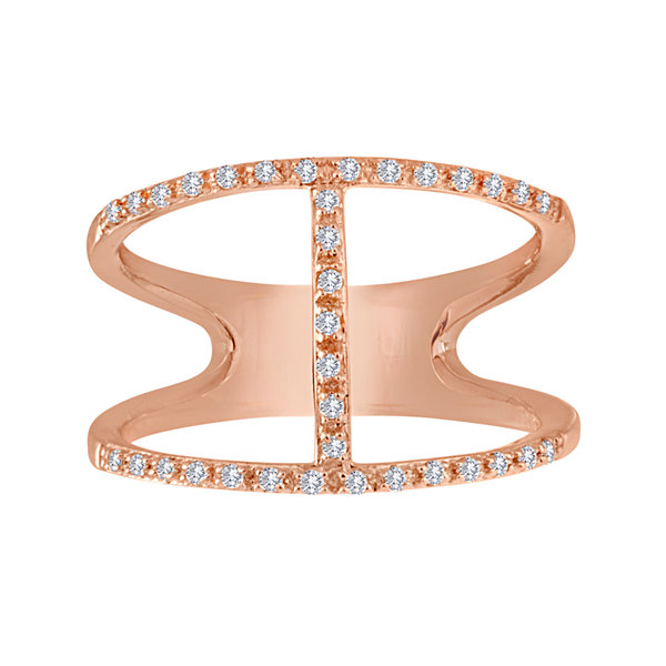 1/7 CT. T.W. Diamond 14K Rose Gold Over Sterling Silver Open-Design Ring