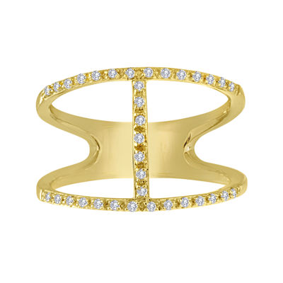 1/7 CT. T.W. Diamond 14K Yellow Gold Over Sterling Silver Open-Design Ring