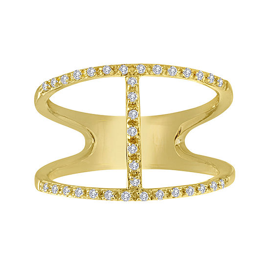 1 7 Ct Tw Diamond 14k Yellow Gold Over Sterling Silver Open Design Ring