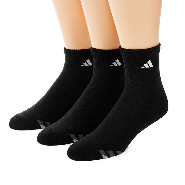 adidas® 3-pk. Mens Athletic Cushioned Quarter Socks - Extended Size