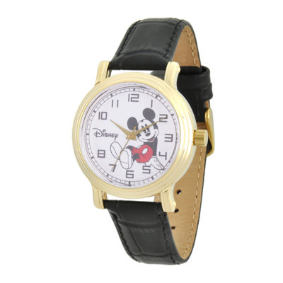 Disney Collection Womens Mickey Mouse Black Leather Strap Watch