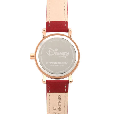 Disney Collection Womens Minnie Mouse Red Leather Strap Watch