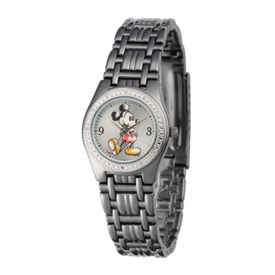 Disney Womens Black Alloy Strap Mickey Mouse Bracelet Watch