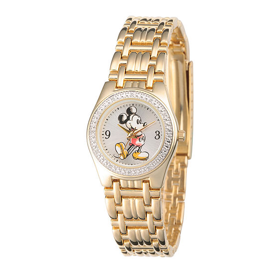 Disney Womens Gold-Tone Metal Alloy Strap Mickey Mouse Bracelet Watch