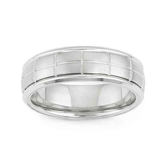 Mens Etched Stainless Steel Band Ring