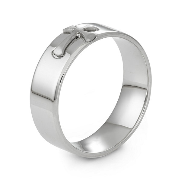 Stainless Steel Cross Band Ring