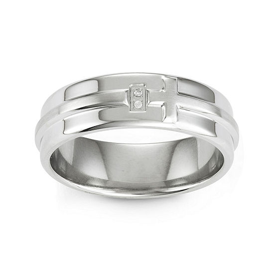 Diamond Accent Stainless Steel Cross Band Ring