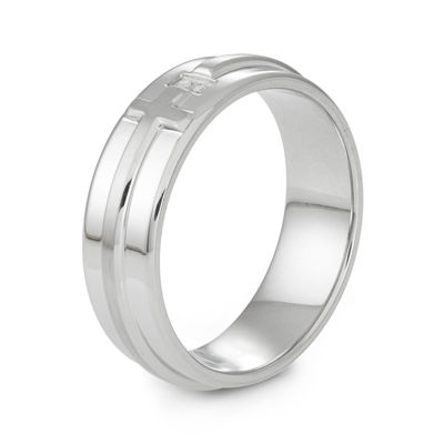 Diamond-Accent Stainless Steel Cross Band Ring