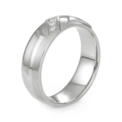 Mens Diamond-Accent Stainless Steel Wedding Band