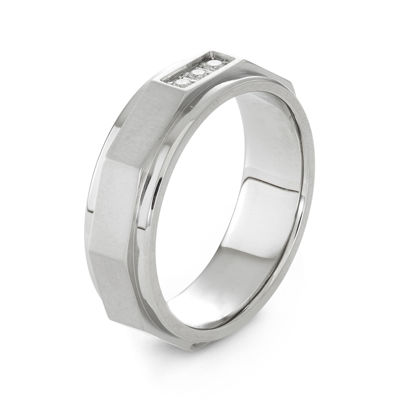 Mens 1/10 CT. T.W. Diamond Stainless Steel Wedding Band