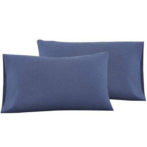 IZOD® Navy Cross-Dyed Set of 2 Pillowcases