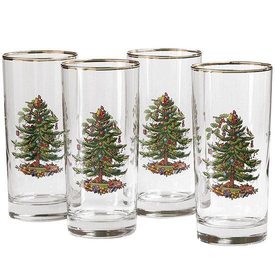 Spode® Christmas Tree Set of 4 Gold-Rim Highball Glasses