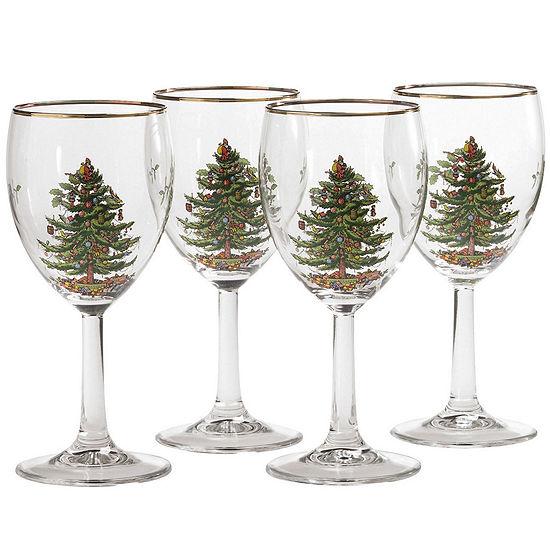 Spode® Christmas Tree Set of 4 Gold-Rim Wine Glasses