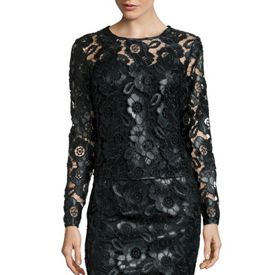 Bisou Bisou® Long-Sleeve Faux-Leather Lace Top