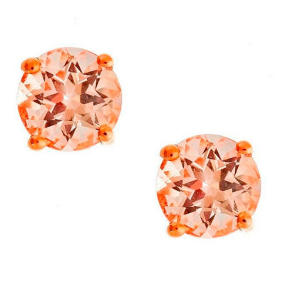 LIMITED QUANTITIES! Round Pink Morganite 14K Gold Stud Earrings