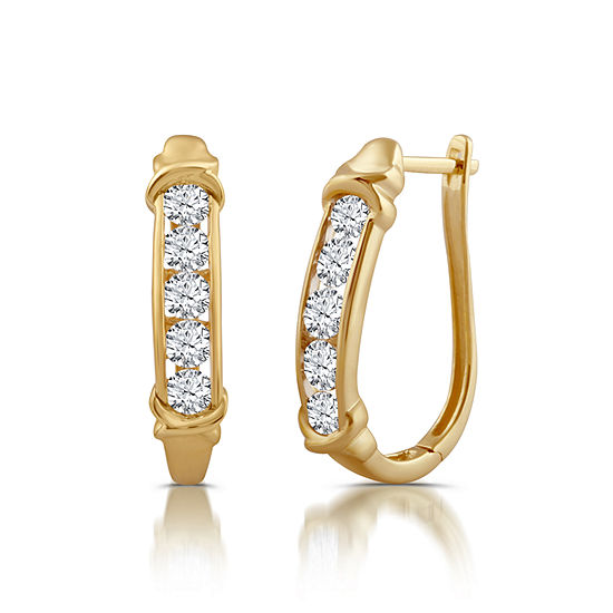 1 1/2 CT. T.W. Genuine White Diamond 10K Gold Hoop Earrings