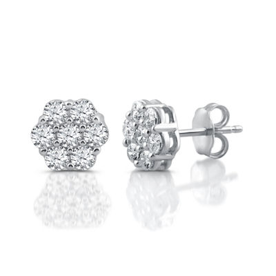 Diamond Blossom Genuine White 1 CT. T.W. Diamond 10K White Gold Stud Earrings