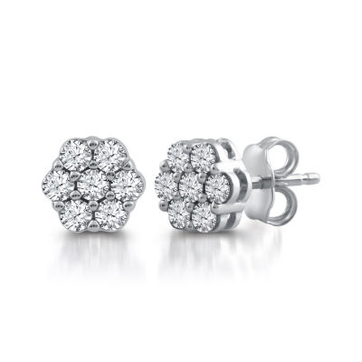 Diamond Blossom 1/2 CT. T.W. Genuine White Diamond 10K White Gold 8.8mm Stud Earrings