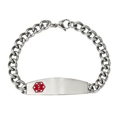 Mens Stainless Steel & Red Enamel Medical ID Chain Bracelet