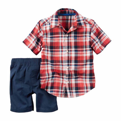 Carter'S 2Pc Red Button Navy Short Set