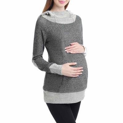Momo Baby Pippy Cowl Neck Hooded Sweatshirt Tunic Top Maternity