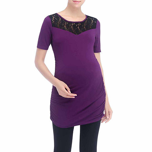 Momo Baby Alden Lace Insert Jersey Knit Top Maternity
