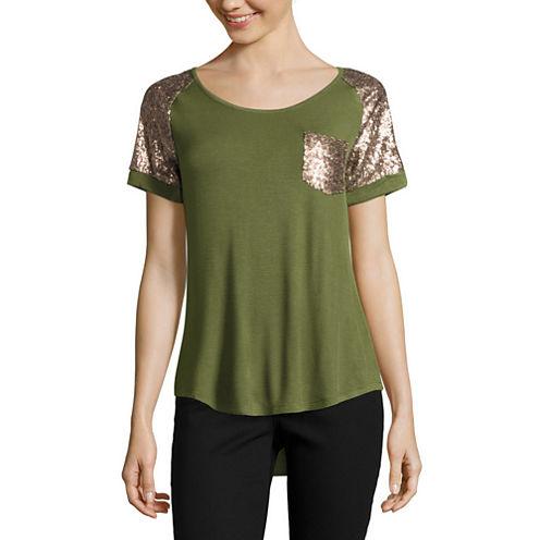 Self Esteem Short Sleeve Round Neck T-Shirt-Womens Juniors